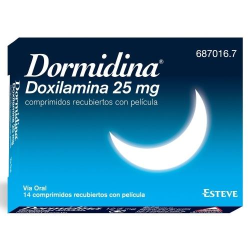 DORMIDINA DOXILAMINA 25 mg COMPRIMIDOS RECUBIERTOS CON PELICULA , 14 comprimidos